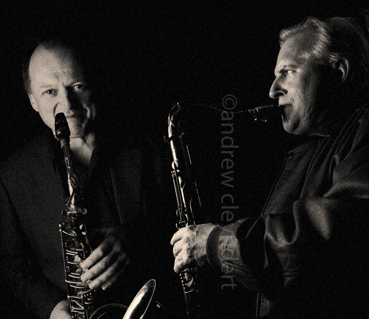 Scott Hamilton and Alan Barnes, Jazz saxophonists, Portrait, photograph